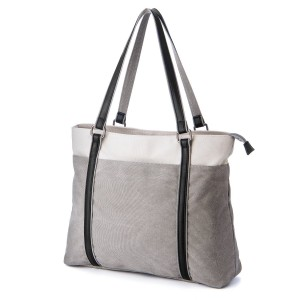 Laptop Tote Bag, GRM Canvas Shoulder Bag, Carrying Handbag for Laptop up to 15.6 inch, Travel Computer Business Office Work School, White and Gray