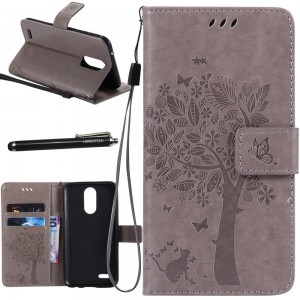 LG K20 Plus Case, LG K20 V Case, LG Harmony Case, Linkertech [Kickstand Feature] PU Leather Wallet Flip Pouch Case Cover with Wrist Strap and Card Slot for LG K20V/K20 Plus/Harmony/Grace/K10 2017 (B-2)