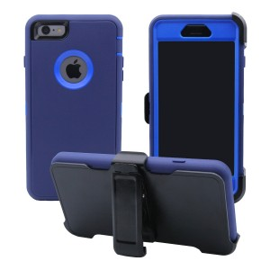 iPhone 6 / 6S Cover | 3-in-1 Screen Protector, Kickstand and Holster Case | Full Body Military Grade  Edge-to-Edge Protection with carrying belt clip | Drop Proof Shockproof Dustproof | Navy Blue/Blue