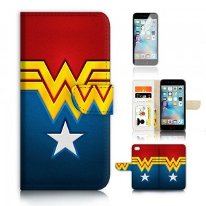 ( For iPhone 7 ) Flip Wallet Case Cover and Screen Protector Bundle! A4268 Wonder Woman