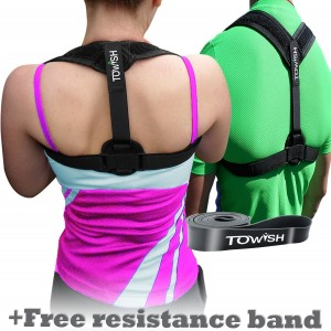 Best Posture Corrector and Adjustable Back Support - Premium Aid Back Brace Helps with Bad Shoulder,Clavicle Alignment and Cervical Neck Pain - Comfortable Medical Figure 8 Correction Device by TOWISH