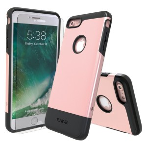 SAWE – iPhone 8 and iPhone 7 Case Cover Heavy Duty Rugged Drop Protection Dual Layer Protective Armor [Anti-Shock] [Air Cushion] for Apple iPhone 7 and 8 4.7 [Tempered Glass Screen Protector] (Rose Gold)