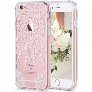 iPhone 6s Case, LUHOURI White Henna Mandala Floral Case, Transparent Plastic with Clear TPU Bumper Protective Back Phone Case Cover for Apple iPhone 6/6s (4.7 Inch) (H-01)¡