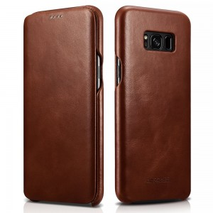 Best Samsung Galaxy S8 Plus Leather Case – Curved Edge Design Genuine Vintage Leather and Side Open Case with Hidden Magnetic Snap – Effective Protection for Samsung Galaxy S 8 Plus by CIVPOWER (Brown)