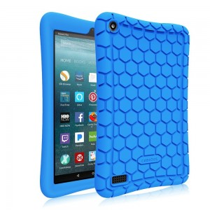 Fintie Silicone Case for all-new Amazon Fire 7 Tablet (7th Generation, 2017 Release) - [Honey Comb Upgraded Version] [Kids Friendly] Light Weight [Anti Slip] Shock Proof Protective Cover, Blue