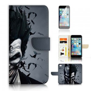 iPhone 7 Flip Wallet Case Cover and Screen Protector Bundle! A9502 Batman and Joker Super Hero