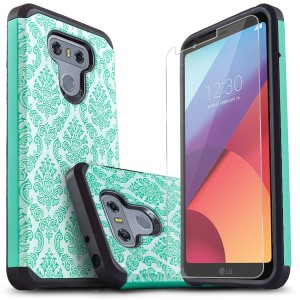 LG G6 Case, Starshop [Shock Absorption] Dual Layers Impact Advanced Protective Cover With [Premium HD Screen Protector Included] [Teal Lace]