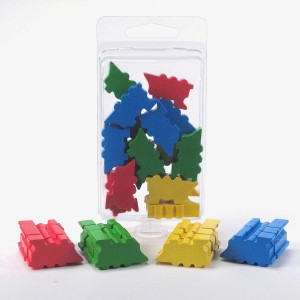 Train Meeples Multicolor Board Game Token Set - 16 Trains in 4 colors (Red, Blue, Yellow, Green) - Resource Tokens, Markers, Counters, Pawns