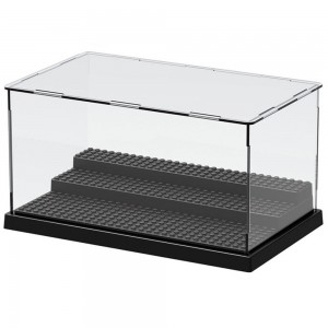 Nokere 3 Steps Display Case/Box Dustproof ShowCase For Blocks Acrylic Plastic Display Assembly Transparent Clear Black Base Box Christmas Gifts for Kids 25.5X15.5X13.8cm