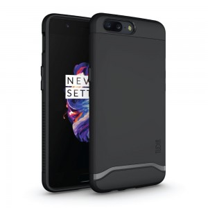 TUDIA OnePlus 5 Case, Slim-Fit HEAVY DUTY [MERGE] EXTREME Protection / Rugged but Slim Dual Layer Case for OnePlus 5 (Matte Black)