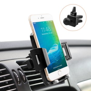 Universal Car Phone Holder, Quntis iPhone Car Holder 360 Rotation Air Vent Holder Mount Cradle for iPhone X 8 8 Plus 7 7 Plus 6s 6 Plus 6 5s 5 SE Samsung Galaxy S6 S5 S4 LG Sony ( Elegant Black)