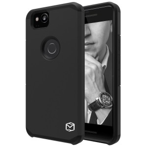 Google Pixel 2 Case, MP-MALL Dual Layer Shockproof Armor Hybrid Defender Anti-Drop Rugged Protective Case Cover For Google Pixel 2 (Black)