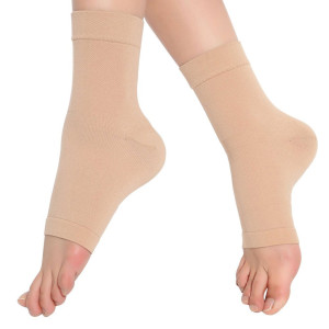 Spotbrace Medical Compression Breathable Ankle Brace, Elastic Thin Ankle Support, Pain Relief Ankle Sleeve For Unisex Ankle Swelling, Achilles Tendonitis, Plantar Fasciitis and Sprained - Nude, 1 Pair
