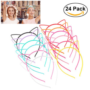 UNOMOR Plastic Cat Ear Headbands for Party Costume Daily Decorations, 24 Pieces with 12 Colors