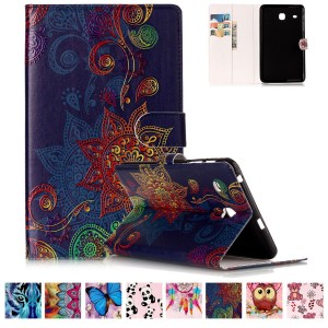 Galaxy Tab E 8.0 T377 Case,UUcovers Slim Fit Leather Case [Card Slot] Stand Cover Protective Wallet Cover for Samsung Galaxy tab E 8.0 T377 4G LTE Verizon/T375,Golden Flower