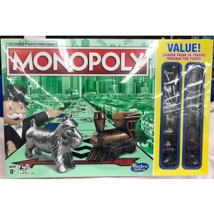 2017 TRADITIONAL LOOK MONOPOLY Board Game with BONUS 16 different TOKENS including THIMBLE, BOOT and WHEELBARROW!
