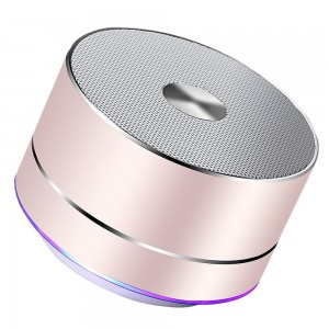 Lenrue Portable Bluetooth Speaker-A2-E Wireless Mini Outdoor Rechargeable Speakers with LED, Stereo Sound, Enhanced Bass,Built-in Mic for IPhone/IPad//Andriod/Sansung/Tablet Rose Gold