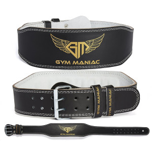 Gym Maniac Weight Lifting Waist Gym Belt   Adjustable Size, 2 Prong Buckle, Comfy Suede, Reinforced Stitching   Support Your Back and Alleviate Pains   For CrossFit, Squats, Bench Press, Fitness and More