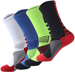 4 Pack Men's Sport Crew Sock Basketball Cushioned Dri-Fit Athletic Long Compression Socks