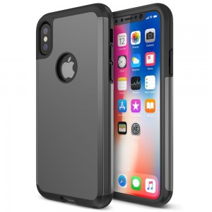 Trianium Protanium iPhone X Case with Reinforced Corner Cushion TPU Bumper / Rigid Hard Back Panel / Heavy Duty Drop Protection / Scratch Resistant Cover For Apple iPhone X / 10 Phone (2017)-Gunmetal