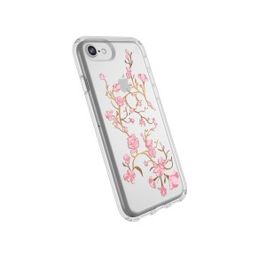Speck Products Presidio Clear + Print Case for iPhone 8 (Also Fits 7/6S/6), Goldenblossoms Pink/Clear