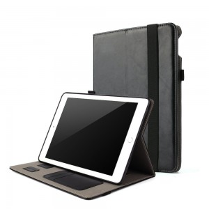 For 2017 New iPad 9.7 inch Case Folio Smart Cover with Hand Strap Multi Standing Angles Premium Leather Magnetic Auto Sleep and Wake Protective Case for iPad 5th Generation 9.7 2017 Tablet (Black)