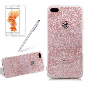 Girlyard For Iphone 7 PLUS Liquid Crystal Clear Jellyfish Phone Case Cover Ultra Thin Slim Transparent Acrylic Hard PC Back Case Cover and Shock Resistant Soft Rubber Bumper Protective Case Cover