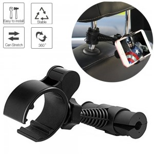 Universal Baby Kids Car Backseat Headrest Car Mount Stand Snap-on Holder with 360 Degrees Rotation Car Headrest Mount for iPhone 7, Samsung S8, S7 by ZoneFly