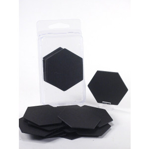 "Value Pack of 15 - Blank Black 2""  Hexagon Hex Board Game Chits Tiles Counters Markers DIY DandD"