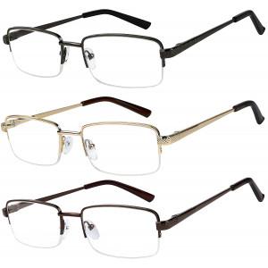 Reading Glasses Set of 3 Half Rim Metal Glasses for Reading Quality Spring Hinge Readers Men and Women