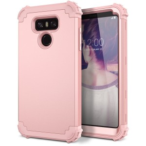 LG G6 Case, WeLoveCase Hybrid Heavy Duty Shockproof Military Armor Protective Case Dual Layer High Impact Protection Case with Extra Conner Cushion Bumpers for LG G6 (Rose Gold)