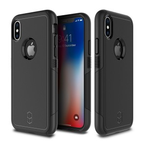 iPhone X Case, Patchworks Level Aegis Series in Black Dual Layer German Polycarbonate TPU Poron XRD Military Drop Tested Triple Material Air Pocket Impact Dispersion Protection Case