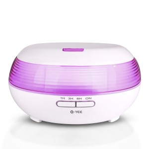 Q-YEE 300ml Ultrasonic aroma diffuser Cool Mist Air Humidifier with 7 Color LED Lights Changing and Waterless Auto Shut-off Function Timing function for Home Office Bedroom Room (White)
