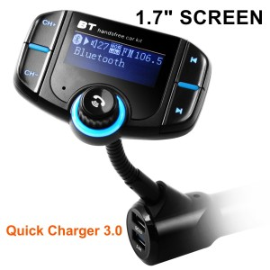 Bluetooth FM Transmitter, Arestech Wireless In-Car Radio Adapter Car Kit with 1.7 Inches Display USB Car Charger for iPhone, Samsung, LG, HTC, Nexus, Motorola, Sony Android Smartphone