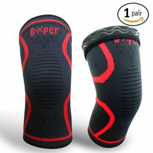 Knee Sleeve, B-Xper Compression Knee Brace Support(1 Pair) for Cross-fit workout, Cycling, Hiking, Jogging, Dancing, Yoga, Gym -Plus Size, Unisex Red