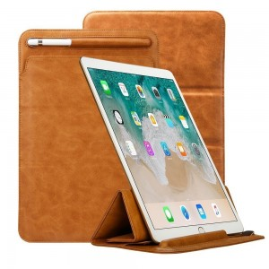 iPad Pro 12.9 Case Apple Pencil Holder TOOVREN Tri-fold Stand Soft Leather PU iPad Pro Sleeve Case Cover with Pencil Holder Pouch Microfiber Lining for 2017 Apple iPad Pro 12.9 Inch Brown