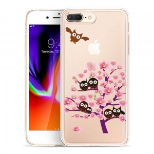 iPhone 8 Plus Case, SwiftBox Clear Flexible TPU Gel IMD Case for iPhone 7 Plus and iPhone 8 Plus with Tempered Glass Screen Protector (Owl and Pink Tree)
