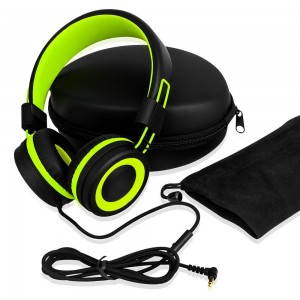 SIMILK - Kids Headphones products,Travel, Work, Kids, Teens, Running Sport, Foldable Stereo Tangle-Free 3.5mm Jack Wired Cord On-Ear Headset for Children (Black/Green)