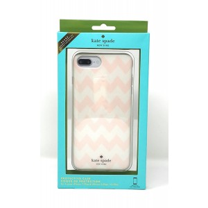 Kate Spade New York Protective Case for iPhone 8 Plus - also compatible with iPhone 7 Plus, iPhone 6+/6s+ - Chevron Cream and Pink