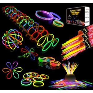 "300 Glowsticks, Sunlitec 300 Pcs 8""  Light up Toys Glow Sticks Bracelet Necklace Light-Up Mixed Colors Party Favors Supplies with 356 Connectors (Total 656 PCs)"