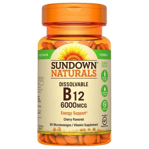Sundown Naturals Vitamin B12 6,000 mcg Dietary Supplement Tablets