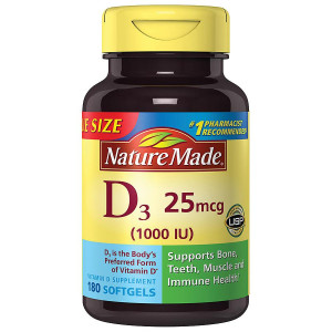 Nature Made Vitamin D3 1000 IU Dietary Supplement Liquid Softgels