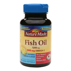 Nature Made Fish Oil 1200 mg Dietary Supplement Liquid Softgels Lemon