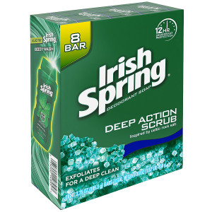Irish Spring Deodorant Soap - Bars Deep Action Scrub with Scrubbing Beads