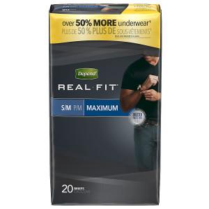 Depend Real Fit for Men Briefs Maximum Absorbency Small/Medium Gray