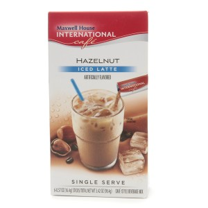 Maxwell House Iced Latte Cafe-Style Beverage Mix, Single Serve Packets Hazelnut
