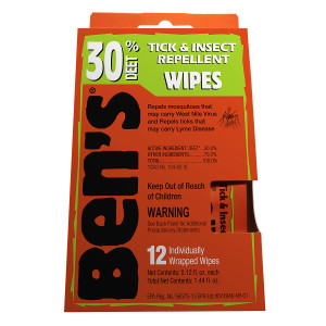 Ben's Tick & Insect Repellent Wipes, 30% Deet