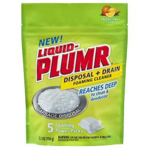 Liquid-Plumr Disposal + Drain Foaming Cleaner, Foaming Power Packs