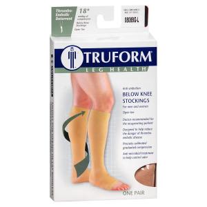 Truform Anti-Embolism Stocking, Below Knee Open Toe Style L,Beige