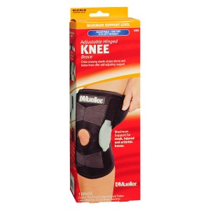 Mueller Adjustable Hinged Knee Brace, Maximum Support, Model 6455 One Size Black